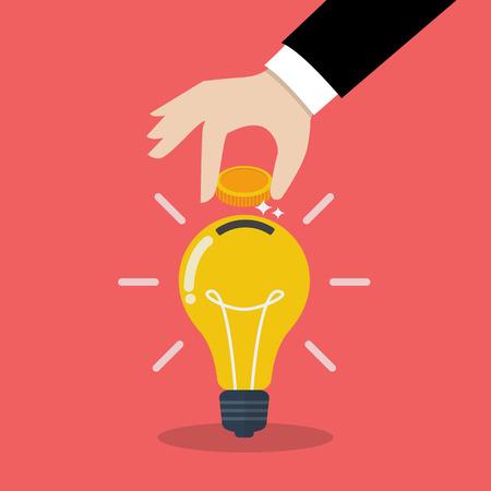 Ilustración de Hand inserting coin in light bulb. Smart investmen Concept - Imagen libre de derechos