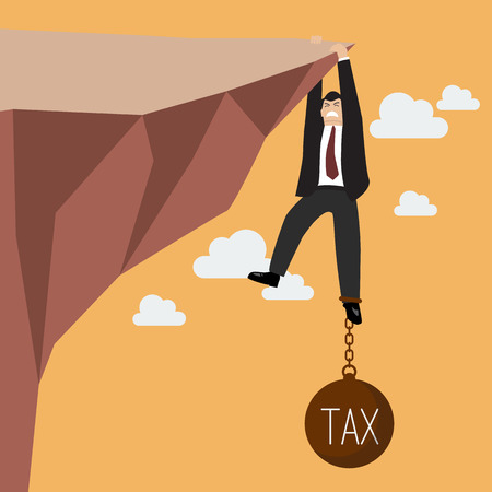 Illustration for Businessman try hard to hold on the cliff with tax burden. Business concept - Royalty Free Image