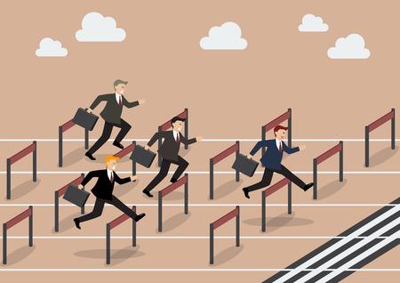 Ilustración de Businessman race hurdle competition. Business concept - Imagen libre de derechos