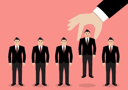 Illustration pour Hand choosing worker from group of businessmen. Recruitment concept - image libre de droit