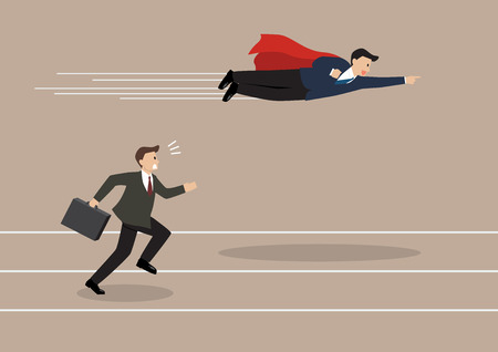 Illustration for Businessman superhero fly pass his competitor. Business competition concept - Royalty Free Image