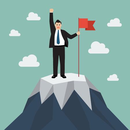 Illustration pour Businessman with flag on a Mountain peak. Business success concept - image libre de droit