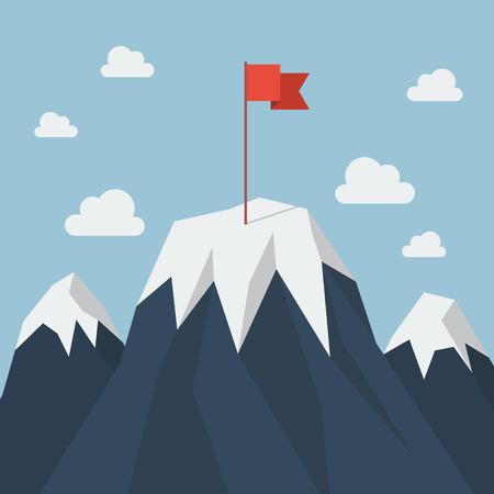 Illustration pour Red flag on a Mountain peak. Business success concept - image libre de droit