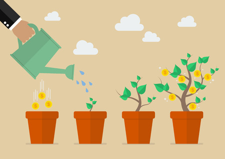 Ilustración de Hand with can watering money tree. Financial growth concept. - Imagen libre de derechos