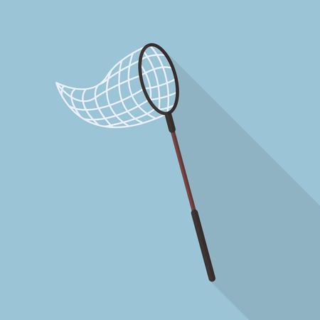 Illustration pour Butterfly net flat icon with long shadow - image libre de droit