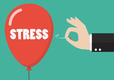 Illustration pour Hand pushing needle to pop the stress balloon. Business concept - image libre de droit