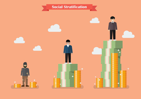 Illustrazione per Social stratification with money. Vector illustration - Immagini Royalty Free