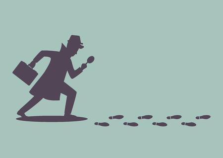 Ilustración de Silhouette of detective investigate is following footprints. Vector illustration - Imagen libre de derechos