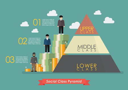 Illustration pour Pyramid of three social class infographic. Vector illustration - image libre de droit