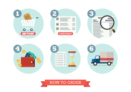 Illustration for How to order. Flat style design Vector Illustration. - Royalty Free Image