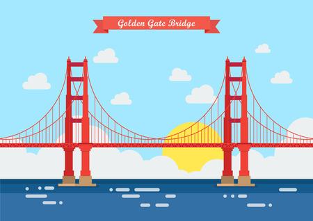 Illustration for Flat style Golden Gate Bridge. Vector illustration - Royalty Free Image