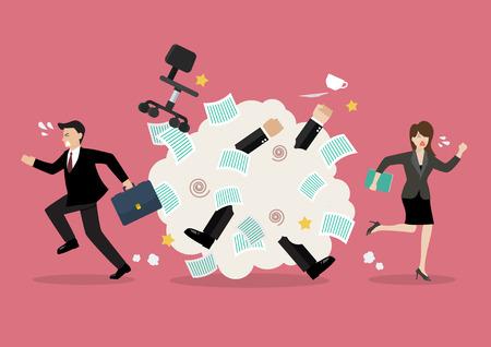 Ilustración de Office workers scuffling at work. Vector illustration - Imagen libre de derechos