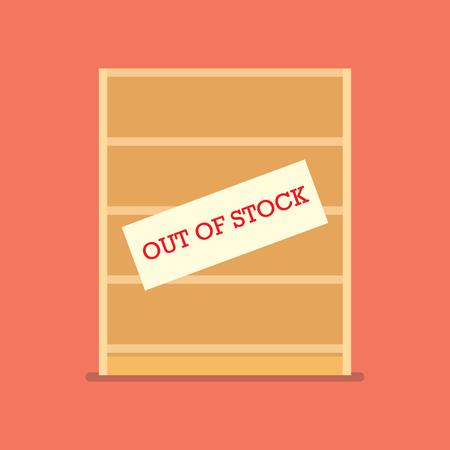 Illustration pour Out of stock sign on wooden shelves. Shortage economic conncept - image libre de droit