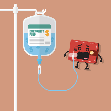 Illustrazione per Emergency fund in saline bag with wallet character. Business concept - Immagini Royalty Free