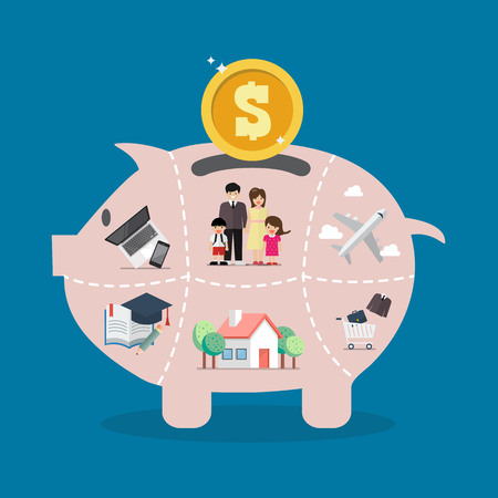 Illustration for Piggy bank saving money portion for life. Vector illustration - Royalty Free Image