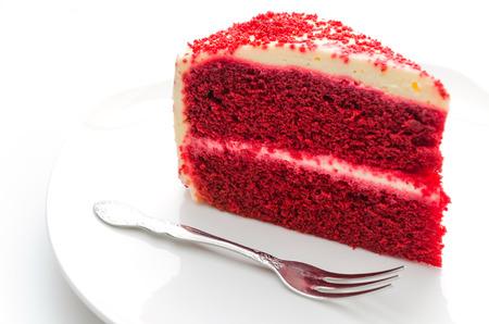 Photo pour Red velvet cake isolated on white - image libre de droit