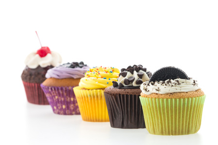 Photo for Cupcakes isolated on white  - Royalty Free Image