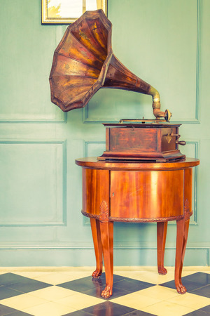 Photo for Vintage Gramaphone music box - vintage filter effect - Royalty Free Image