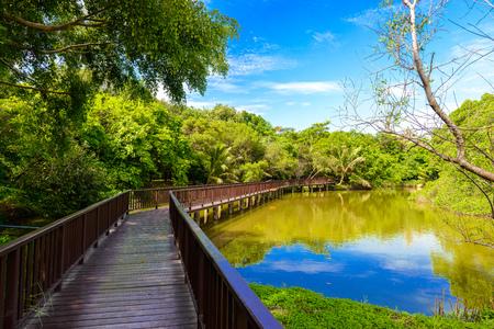 Photo for Wooden bridge walkway in Sri Nakhon Khuean Khan Park and Botanical Garden. Bang krachao, Phra Pradaeng, Samut Prakan, Thailand - Royalty Free Image
