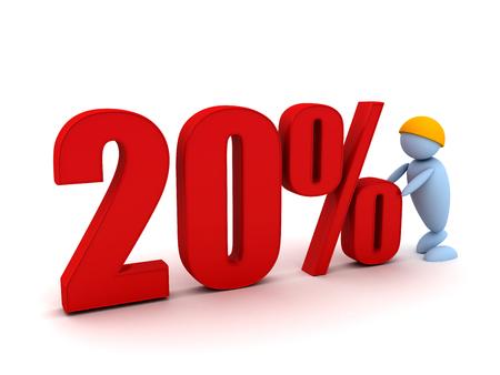 Businessman offers a 20 percentage. 3d image renderer