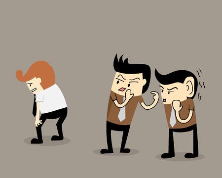 Illustration pour Gossip colleague two businessman talk about a colleague - image libre de droit