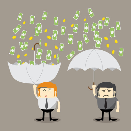 Illustration pour Money falling, Coin falling from sky, money catching by umbrella, Finance concept, Business concept, make money - image libre de droit