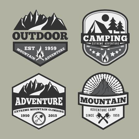 Illustration pour Set of monochrome outdoor camping adventure and mountain badge , emblem logo label design - image libre de droit