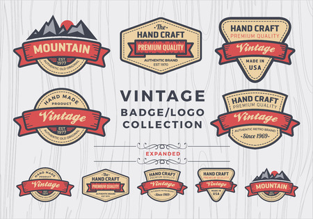 Ilustración de Set of vintage badgelogo design, retro badge design for logo, banner, tag, insignia, emblem, label element - Imagen libre de derechos