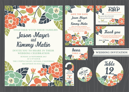 Illustration for Tropical flower wedding invitation vintage design sets include Invitation card, Save the date, RSVP card, Thank you card, Table number, Gift tags, Place cards, Respond card, Save the date door hanger - Royalty Free Image