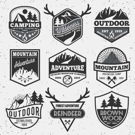 Illustration pour Set of monochrome outdoor camping adventure and mountain badge logo, emblem logo, label design - image libre de droit
