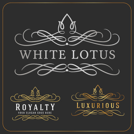 Illustration pour Luxurious Royal Logo Vector Re-sizable Design Template Suitable For Businesses and Product Names, Luxury industry like Resort, Spa, Hotel, Wedding, Restaurant and Real estate. - image libre de droit