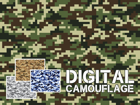 Illustration pour Four different colors digital camouflage military pattern for background, clothing, textile garment, wallpaper  Very easy to use, just click the camouflage pattern in color swatch - image libre de droit