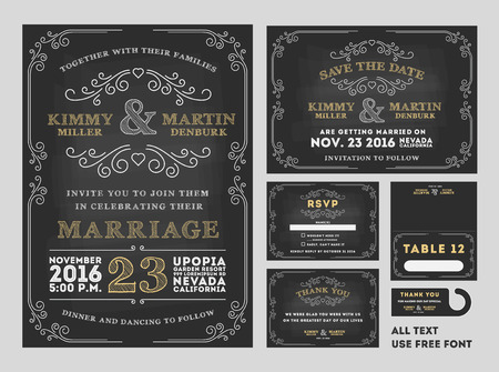 Illustration pour Vintage Chalkboard Wedding Invitations design sets include Invitation card, Save the date card, RSVP card, Thank you card, Table number, Gift tags, Place cards, Save the date door hanger - image libre de droit