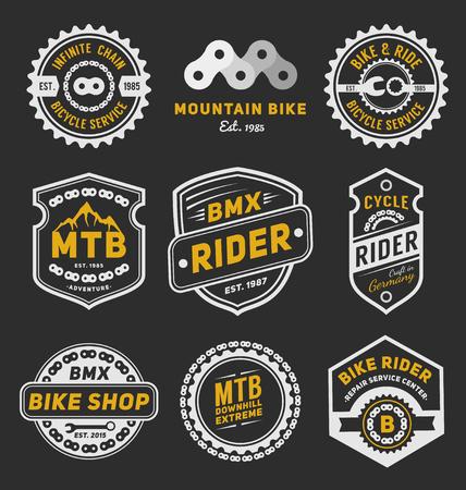 Illustration pour Set of bicycle badge logo template design for logo, label, T-shirt, stamp, sticker, banner and other design. Vector illustration - image libre de droit