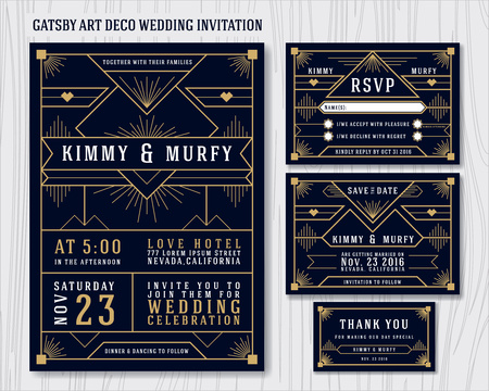 Illustration for Great Gatsby Art Deco Wedding Invitation Design Template. Include RSVP card, Save the date card, thank you tags. Classic Premium Vintage Style Frame Vector illustration. - Royalty Free Image