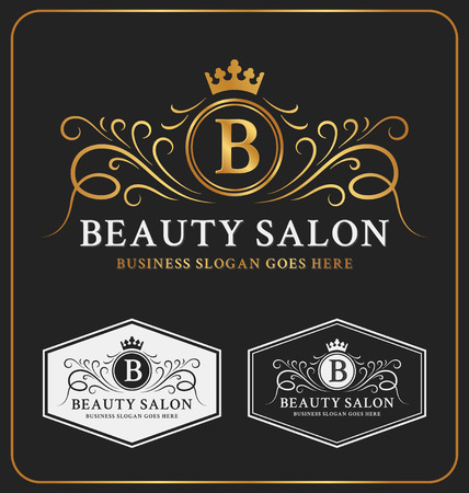 Illustrazione per Beauty Salon Heraldic Crest Logo Template Design. Flourish line monogram logotype. Vector illustration - Immagini Royalty Free