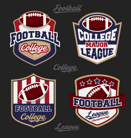 Illustration pour Set of football college league badge logo with four color design. Suitable for T-shirt apparel design. Vector illustration - image libre de droit