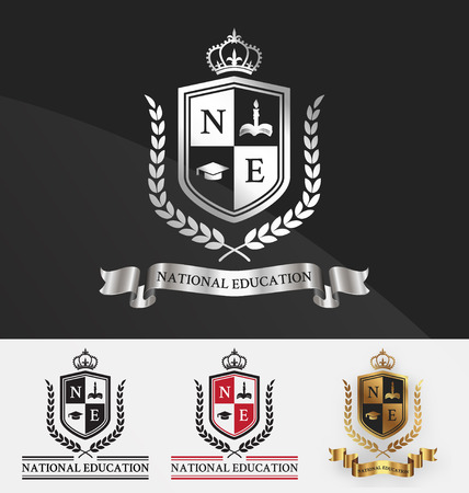 Illustration for Shield and wreath laurel with crown crest logo design. Suitable for student academy, learning center, real estate, hotel, resort, official and service. Vector illustration - Royalty Free Image
