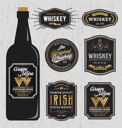 Illustration pour Vintage Premium Whiskey Brands Label Design Template, Resize able and free font used. Vector illustration - image libre de droit