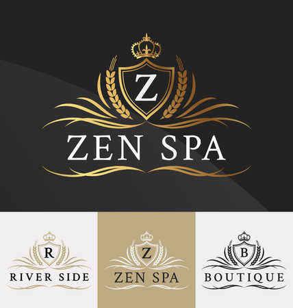 Illustration pour Premium Royal Crest Logo Design. Suitable for Spa, beauty Center, Real Estate, Hotel, Resort, House logo  - image libre de droit