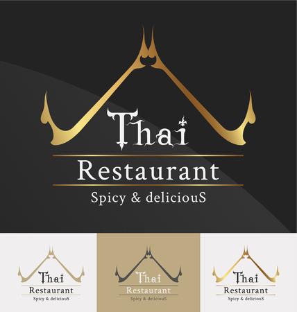 Thai restaurant logo template design. Thai art decoration element. Vector illustration