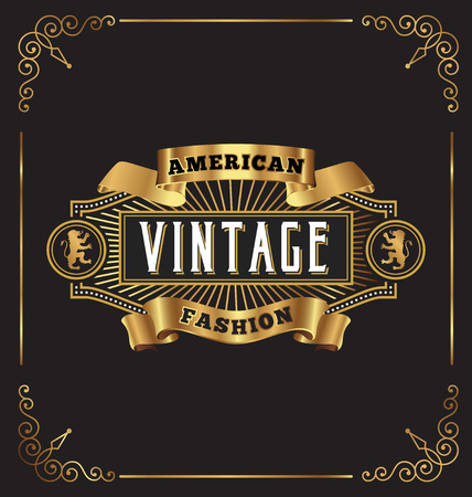 Illustration for Vintage frame label design. Suitable for Whiskey, Jewelry, Hotel, Coffee shop, Restaurant, Barber, Premium business.  - Royalty Free Image