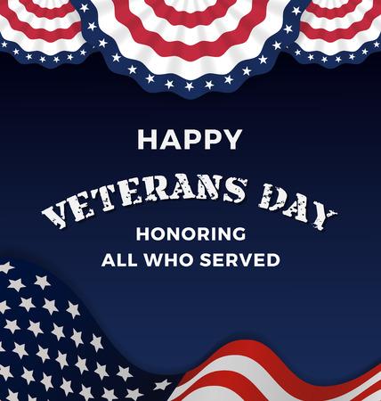 Illustration pour Happy Veterans Day and Background With Wavy USA Flag Design. Vector illustration - image libre de droit