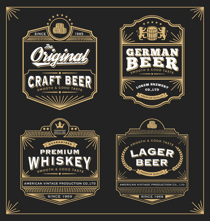 Ilustración de Vintage frame design for labels, banner, sticker and other design. Suitable for whiskey, beer and premium product. All type use free font. - Imagen libre de derechos