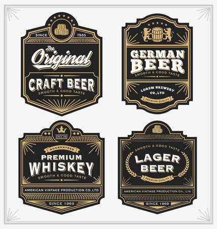 Illustration for Vintage frame design for labels, banner, sticker and other design. Suitable for whiskey, beer and premium product. All type use free font. - Royalty Free Image