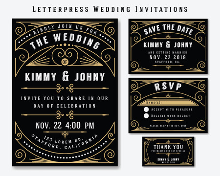 Illustration for Letterpress Wedding Invitation Design Template. Include RSVP card, Save the date card, thank you tags. Classic Premium Vintage Style Frame - Royalty Free Image