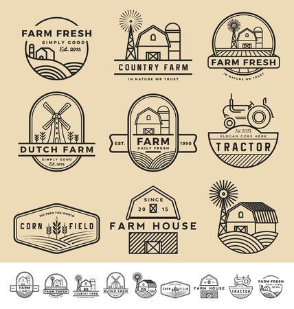 Illustration pour Set of vintage and modern farm badge and labels design.  - image libre de droit