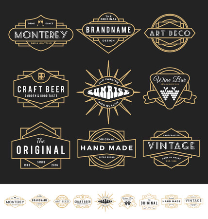 Illustration for Set of retro badge for vintage product and business such as night club, whiskey, brewery, wine, craft beer, restaurant, handmade product.  - Royalty Free Image