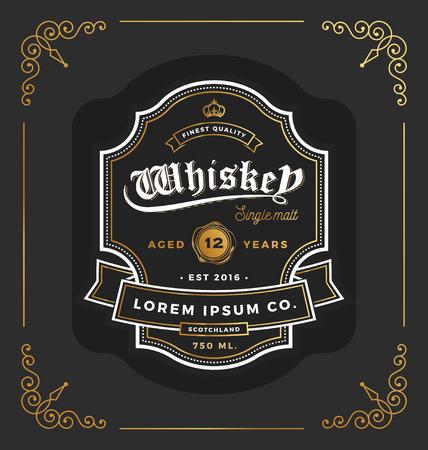Ilustración de Vintage frame label design. Suitable for Whiskey and Wine label, Restaurant, Beer label. Vector illustration - Imagen libre de derechos