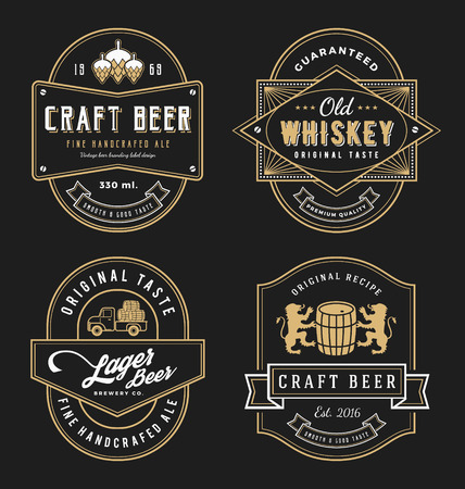 Ilustración de Vintage frame design for labels, banner, sticker and other design. Suitable for whiskey, beer, wine, beverage and premium product. All type use free font. - Imagen libre de derechos